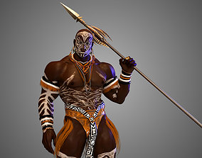 3D model Native African Warrior Male