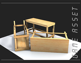 wood work bench or work table 3D asset