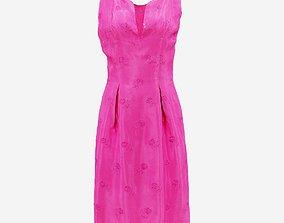 Shiny Pink Flower Dress 3D model