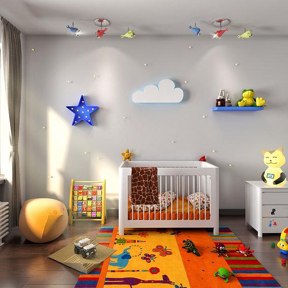3d render kids bedroom