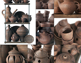 3D model Dishes clay rack n11 museum