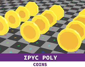 EPIC POLY - Beaten Coin with LOD 3D model