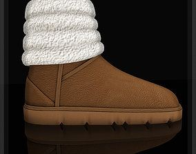 Winter boots with wool emu shoes 3D asset game-ready