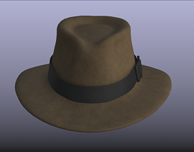 Indiana Jones Brown Stylish Fedora Hat 3D model low-poly