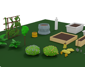 Gardening Plants and Accessories Pack 3D asset