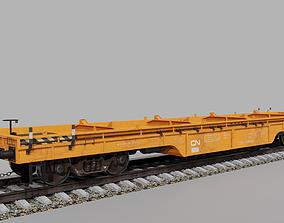 Railway flatcar wagon 3D model