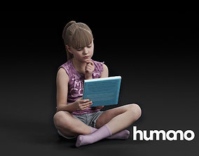 Humano Girl Sitting and reading a book 0509 3D