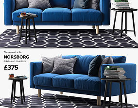 IKEA NORSBORG Three-seat sofa with coffee tables and 3D