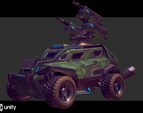 Sci-Fi Armored Artillery Vehicles PBR 3D model game-ready