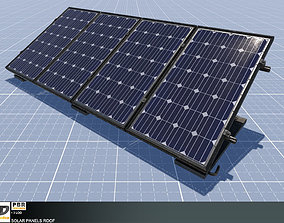 3D model Solar panels roof