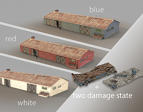 3D Old Garage 01 blue red white with damage DMG