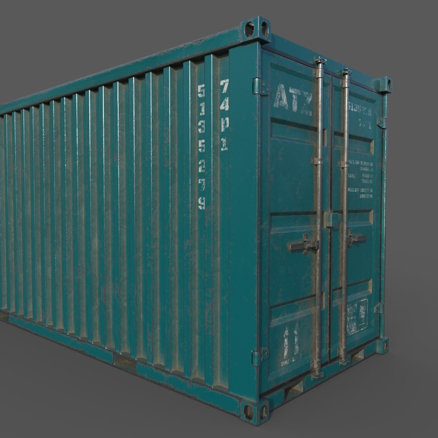 Old Dark Teal Shipping Container