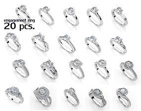 ENGAGEMENT SET 20 RINGS 3D printable model