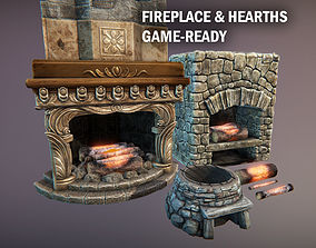 3D asset game-ready Fireplace and hearths