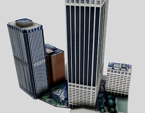 3D asset New York Building Low Poly