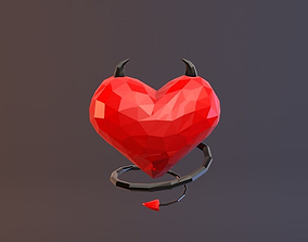 Low Poly Devil Heart 3D model low-poly