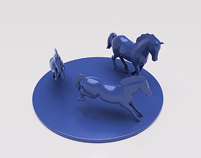 Three Horses Desk Sculpture 3D print model