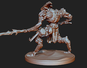 3D printable model Dall Alien Warrior attacking with Spear