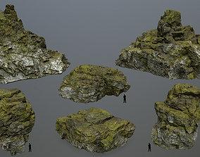 3D asset mossy rocks set