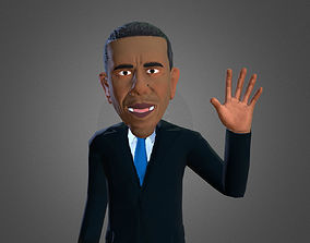 Obama caricature low poly rigged 3D asset