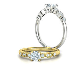 Vintage Milgrain Engagement ring 5mm Stone 3dmodel