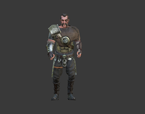 3D asset animated Barbarian Warrior