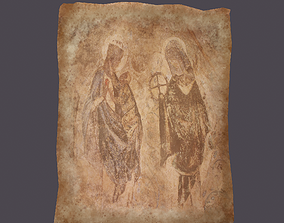Worn Medieval Paper with Figures 3D asset game-ready