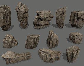 3D model VR / AR ready desert rocks other
