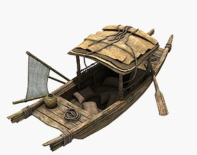 Wooden Fishing Boat china 3D model