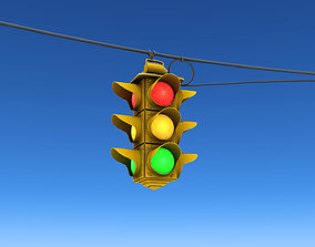 Hanging Traffic Lights 3D asset