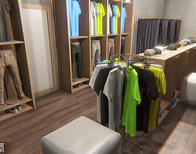 Clothing store - interior and props 3D asset