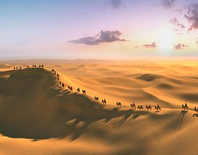 Desert camel Silk Road Ancient 3D animated