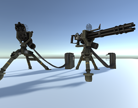 realtime Machine Gun GMG low poly 3d model