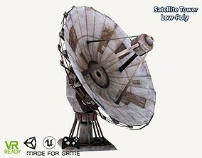 3D asset Satellite Dish Tower Low Poly