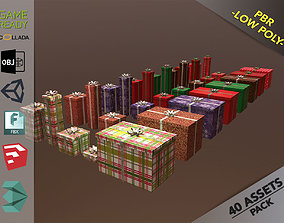 3D asset Christmas Gift Box Pack1