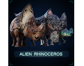 3D asset rigged Alien Rhinoceros