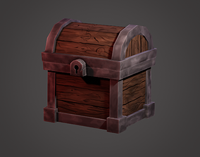 3D asset animated low-poly gold Treasure Chest