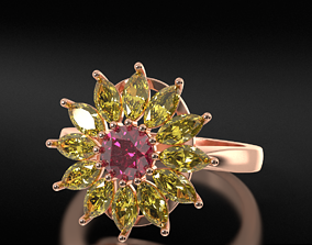 ring with diamond and marquise 670 3D printable model