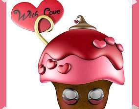 Cute Valentine Day Cake in many colours 3D asset
