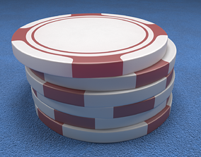 3D Poker Chips Red and White