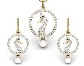 Women pearl peacock pendant-earrings set 3dm render
