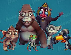 3D model animated Wild Animal Friends