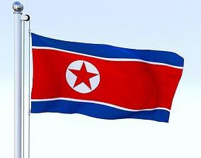 Animated North Korea Flag 3D model