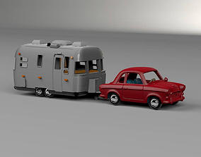 Airstream Trailer and Towing Vehicle 3D print model