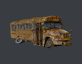 3D asset Apocalyptic Damaged Destroyed Vehicle School 3