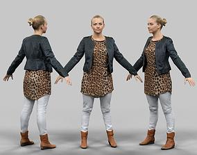 3D asset A-Pose Blonde Woman
