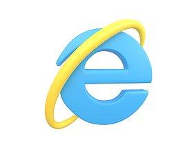 Internet Explorer Logo v1 004 3D asset VR / AR ready