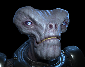 3D model rigged Alien in armored suit