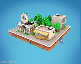 Cartoon City Block Dount Cafe Building 3D model