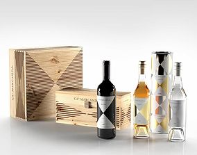 3D model Ca Marcanda Wine and Boxes